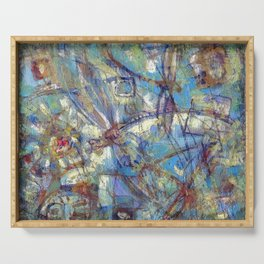 Dragonflies in blue Serving Tray