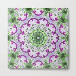Purple Wildflower Kaleidoscope Art 6 Metal Print