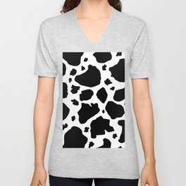 black and white animal print cow spots Unisex V-Neck