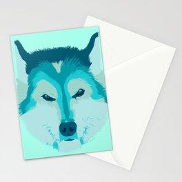 husky - teal Stationery Cards