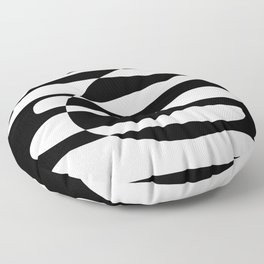 Abstract Composition in Black and White Floor Pillow