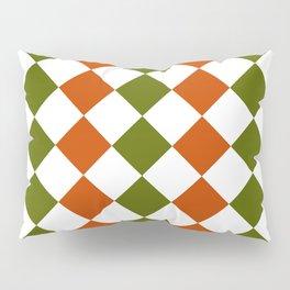 Orange and green square pattern Pillow Sham