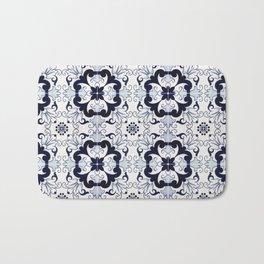 Portuguese Tiles Azulejos Blue and White Pattern Bath Mat
