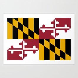 Flag of Maryland, High Quality image Art Print