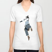 the legend of korra V-neck T-shirts featuring Korra by JHTY