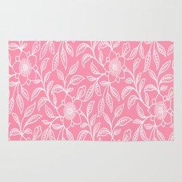 Vintage Lace Floral Pink Rug