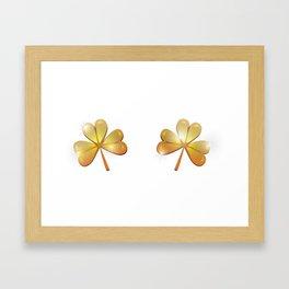Golden Irish Clovers Framed Art Print
