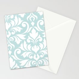 Flourish Damask Art I White on Duck Egg Blue Stationery Cards