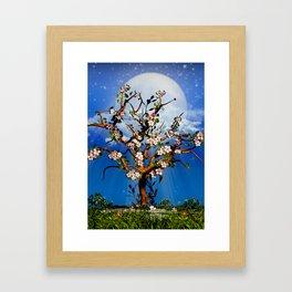 Cherry Tree Blossom under the moonlight Framed Art Print