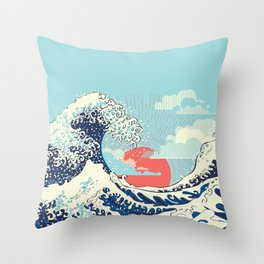 The Great Wave off Kanagawa stormy ocean with big waves Throw Pillow