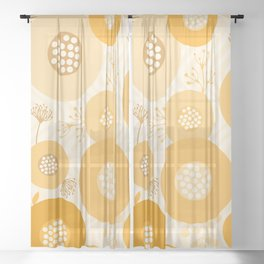 Modern Abstract Flowers Muted Orange Circles on Wavy Background Sheer Curtain