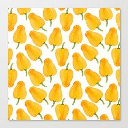 Watercolor yellow paprika Canvas Print