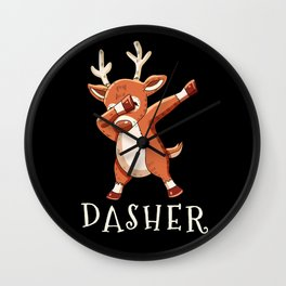 DASHER Santas Reindeers Family Matching Christmas Wall Clock
