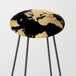 Sleek black and gold world map Counter Stool