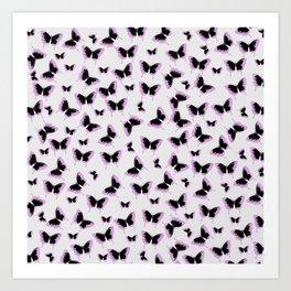 Black and pink butterflies Art Print