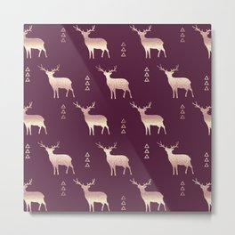 Christmas Deer Plum Blush and Gold glittery ombre Metal Print