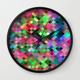 geometric square pixel pattern abstract in pink blue green Wall Clock