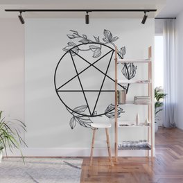Witch's Pentagram with Flora Adornments Wall Mural