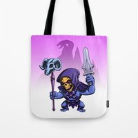 skeletor Tote Bags featuring Little Skeletor by Rico Marcano