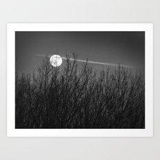 Moon Over Winter Trees Art Print