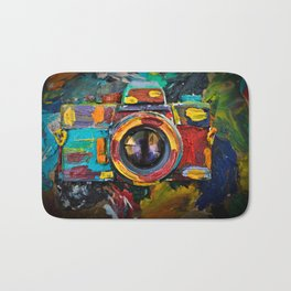 Painted old film camera on art background of palette covered with paint strokes. Bath Mat