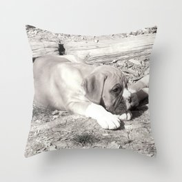 Boxer puppy resting Throw Pillow