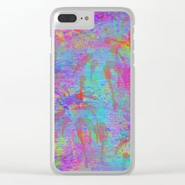Whimsical pink teal neon green yellow abstract watercolor Clear iPhone Case