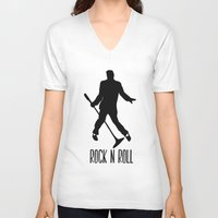 rock n roll V-neck T-shirts featuring Rock N Roll by Eleanor Rose