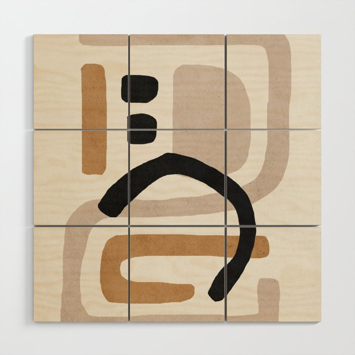 Abstract shapes art, Mid century modern art Wood Wall Art