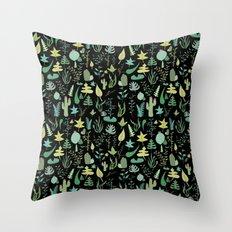black green garden Throw Pillow