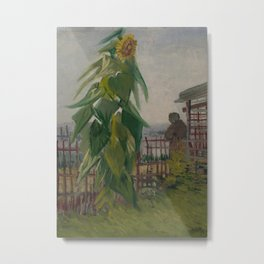 Allotment with Sunflower Metal Print