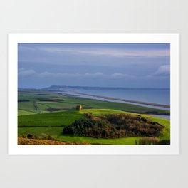 St Catherines Chapel and Chesil Beach Art Print