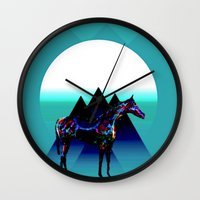pony Wall Clocks featuring Painted Pony by Laura Santeler