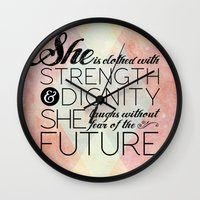 pocketfuel Wall Clocks featuring Proverbs 31 She is...  by Pocket Fuel