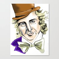 willy wonka Canvas Prints featuring Willy Wonka by Bubble Trump Ltd