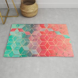Rose And Turquoise Cubes Rug