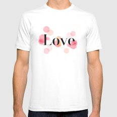 Love White MEDIUM Mens Fitted Tee
