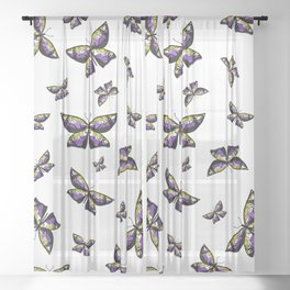 Fly With Pride: Nonbinary Flag Butterfly Sheer Curtain