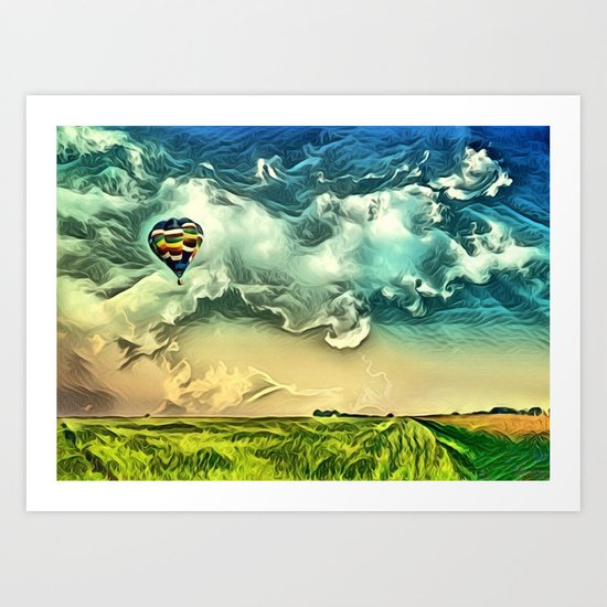 Air Balloon in the Sky with Clouds over the Landscape Art Print