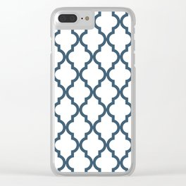 Dusky Blue Moroccan Pattern Clear iPhone Case