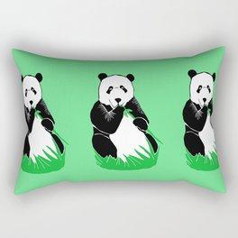 Panda Eating Bamboo Printmaking Art Rectangular Pillow