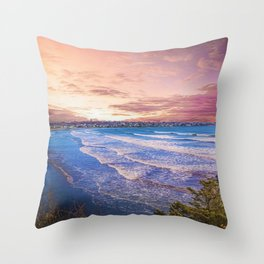 First Beach - Cliff Walk Newport, Rhode Island Sunset Landscape Throw Pillow
