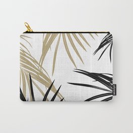 Gold Black Palm Leaves Dream #1 #tropical #decor #art #society6 Carry-All Pouch