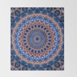 Pretty mandala in blue and orange Throw Blanket