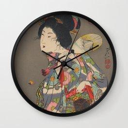 Japanese Art Print - Woman and Fireflies Wall Clock