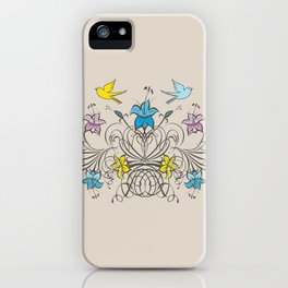 Shabby Chic vintage lily flowers bouquet and birds 1 iPhone Case