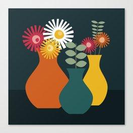 Flower Vases on Dark Background Canvas Print