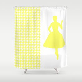 Lemonade Modern Houndstooth w/ Fashion Silhouette Shower Curtain