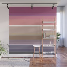 Simple striped pattern in bright crimson, beige and grey tones Wall Mural
