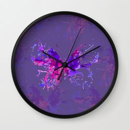 Violet butterfly design Wall Clock
